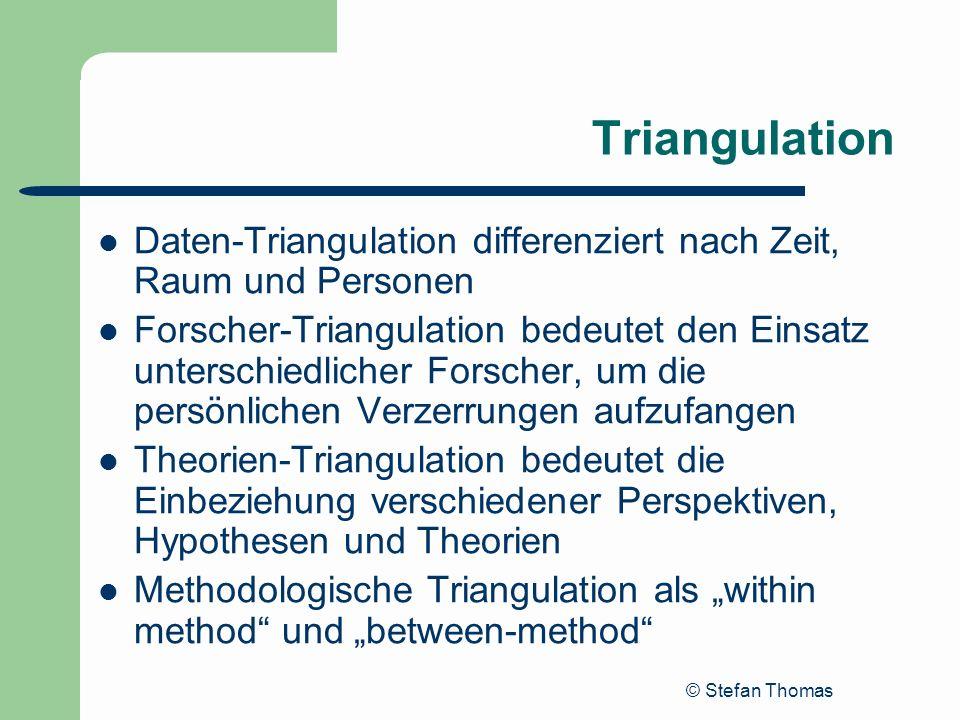 Triangulation Daten-Triangulation differenziert nach Zeit, Raum und Personen.