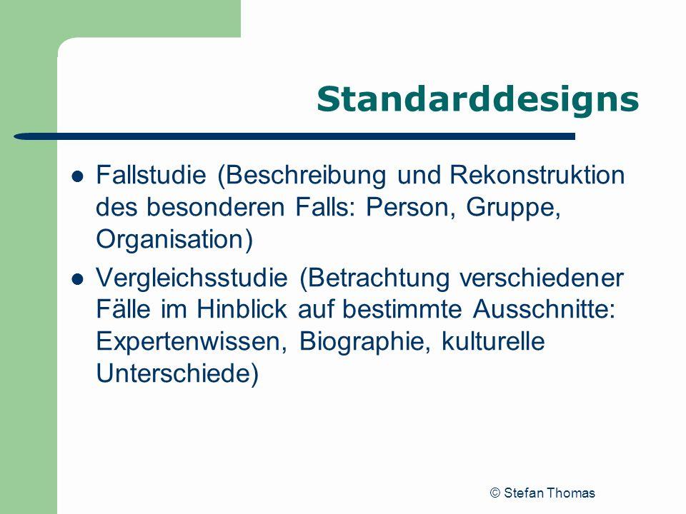 Standarddesigns Fallstudie (Beschreibung und Rekonstruktion des besonderen Falls: Person, Gruppe, Organisation)
