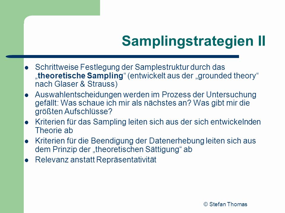 Samplingstrategien II