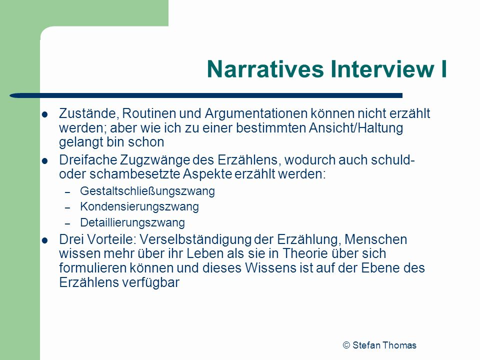 Narratives Interview I
