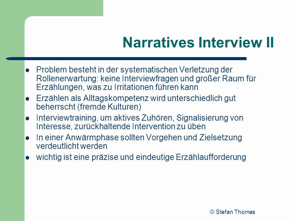 Narratives Interview II