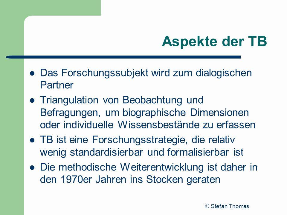 Aspekte der TB Das Forschungssubjekt wird zum dialogischen Partner
