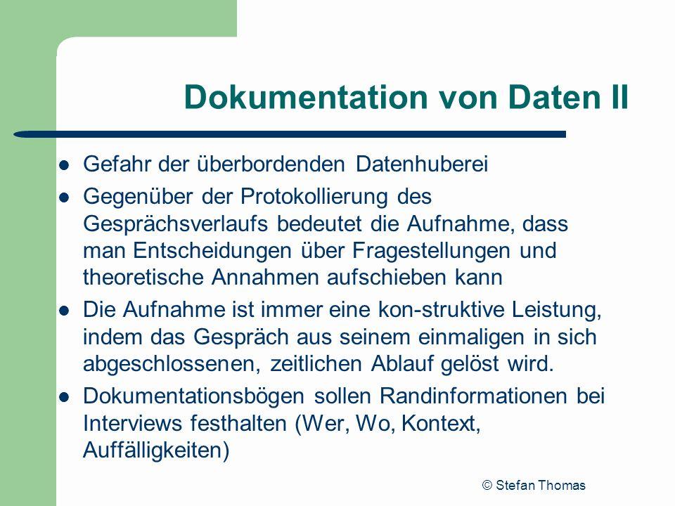 Dokumentation von Daten II