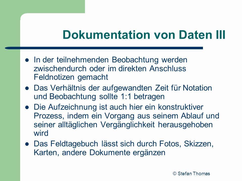 Dokumentation von Daten III