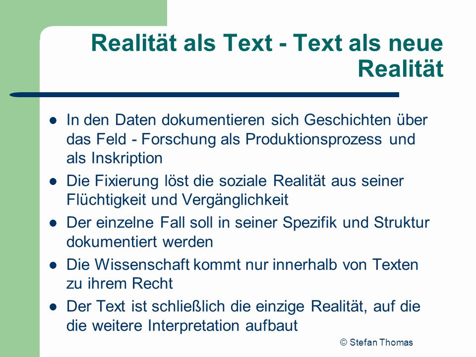 Realität als Text - Text als neue Realität
