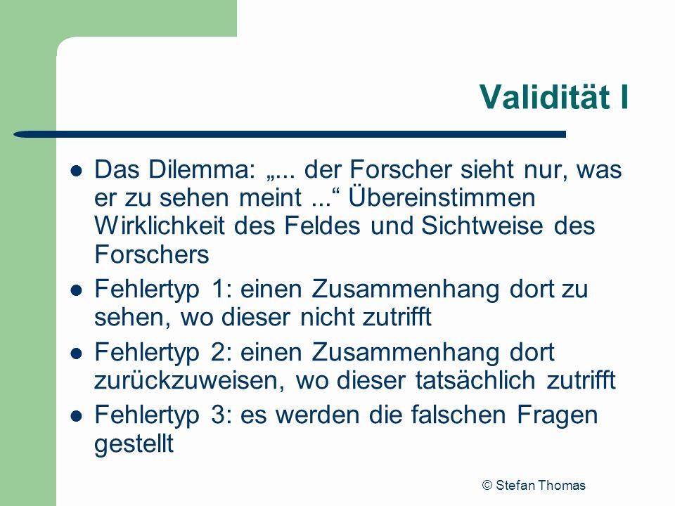 """Validität IDas Dilemma: """"... der Forscher sieht nur, was er zu sehen meint ... Übereinstimmen Wirklichkeit des Feldes und Sichtweise des Forschers."""