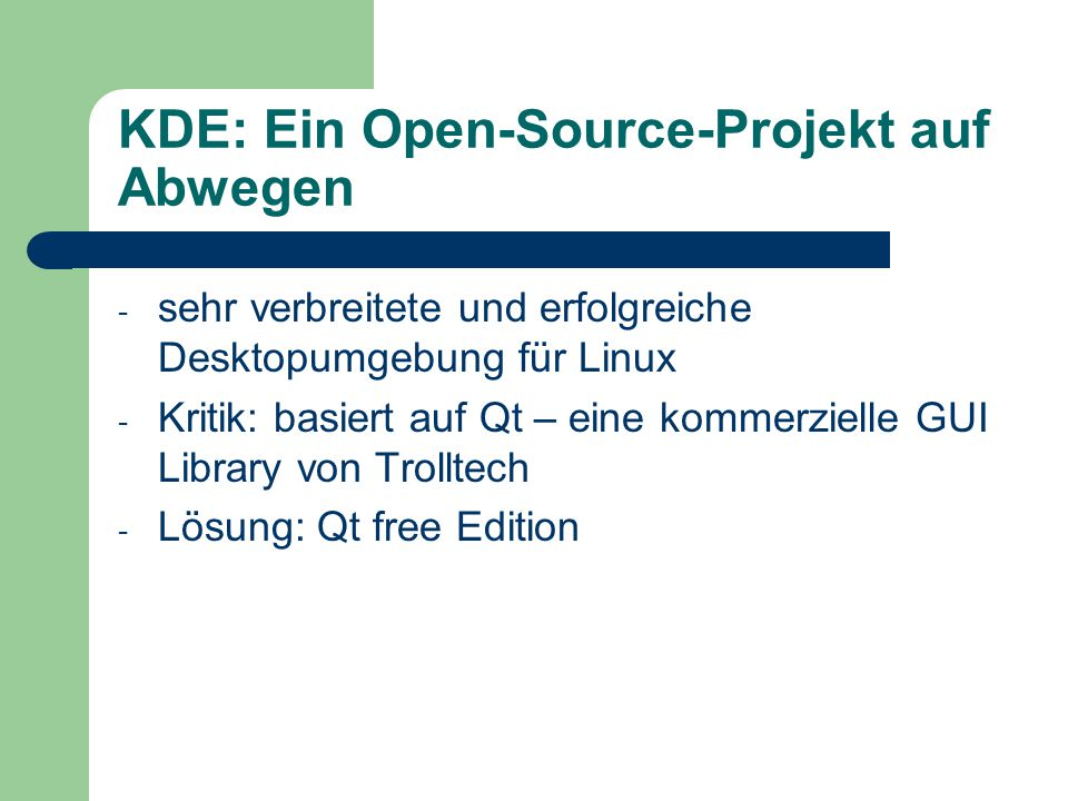 KDE: Ein Open-Source-Projekt auf Abwegen