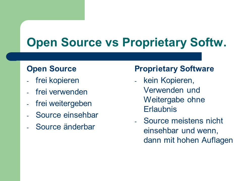 Open Source vs Proprietary Softw.