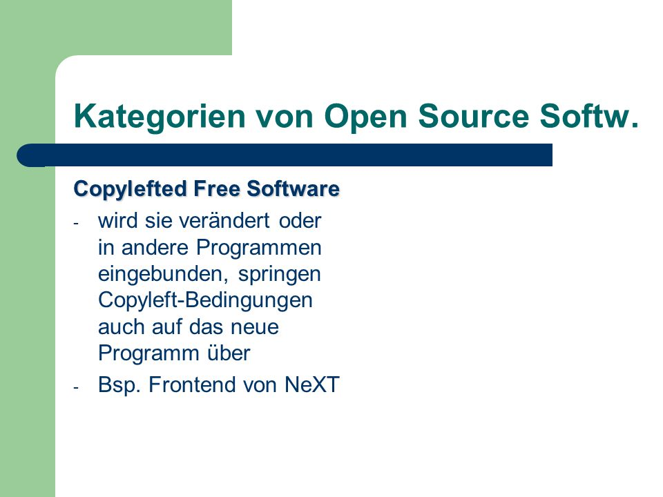 Kategorien von Open Source Softw.
