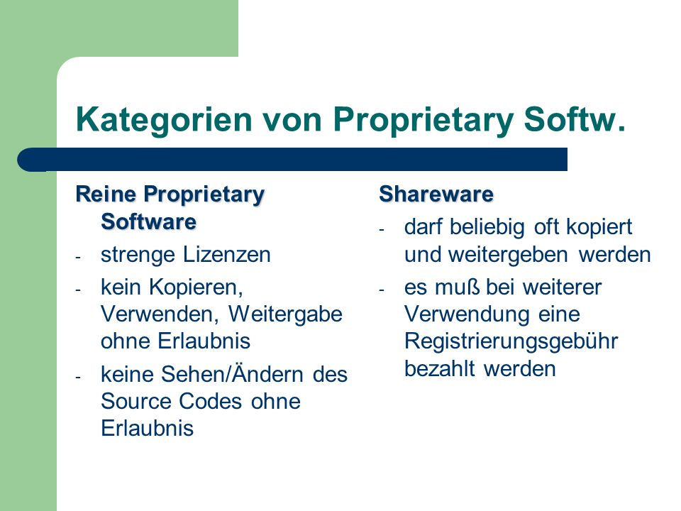 Kategorien von Proprietary Softw.