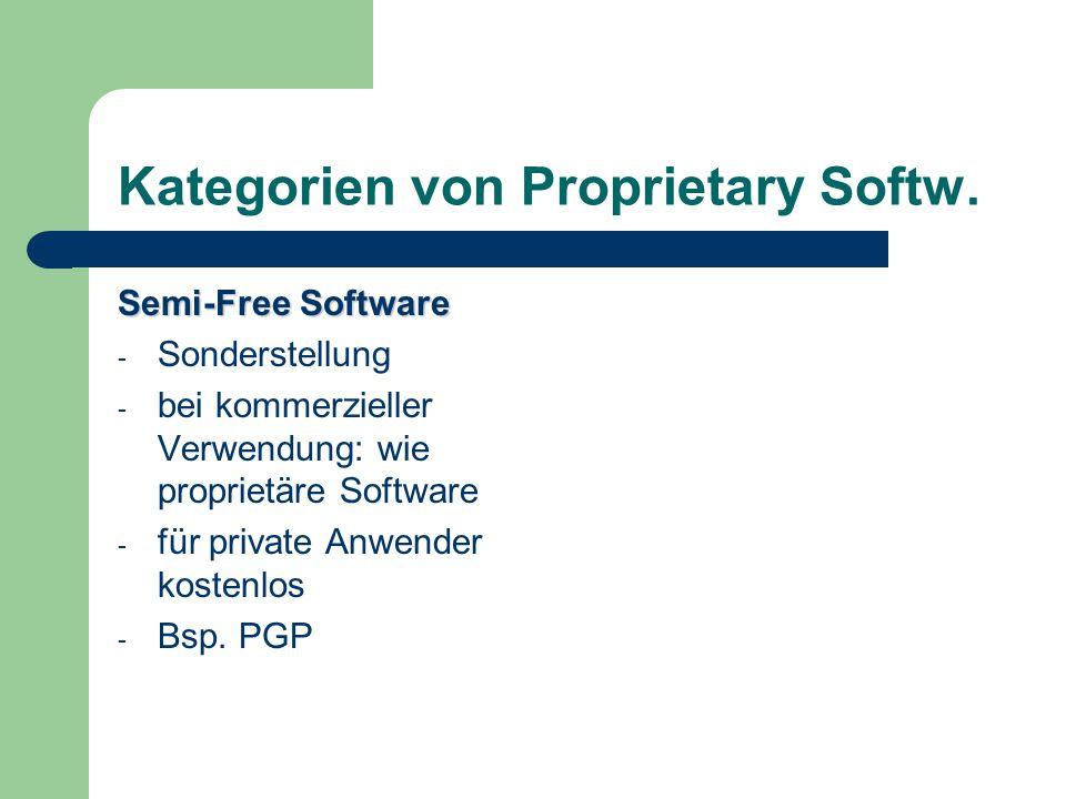 Kategorien von Proprietary Softw.