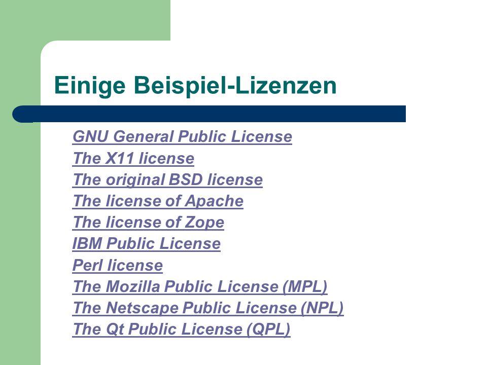 Einige Beispiel-Lizenzen