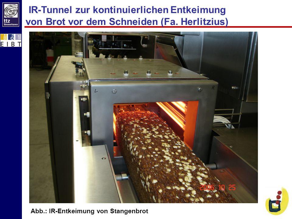 IR-Tunnel zur kontinuierlichen Entkeimung von Brot vor dem Schneiden (Fa. Herlitzius)