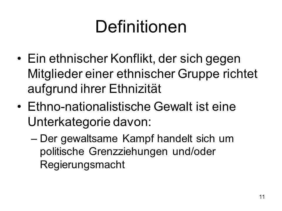 Definitionen Ein ethnischer Konflikt, der sich gegen Mitglieder einer ethnischer Gruppe richtet aufgrund ihrer Ethnizität.