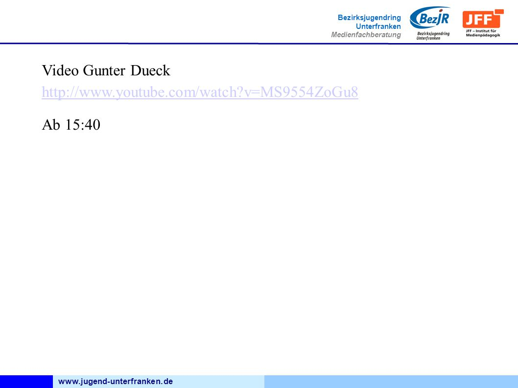 Video Gunter Dueck http://www.youtube.com/watch v=MS9554ZoGu8 Ab 15:40