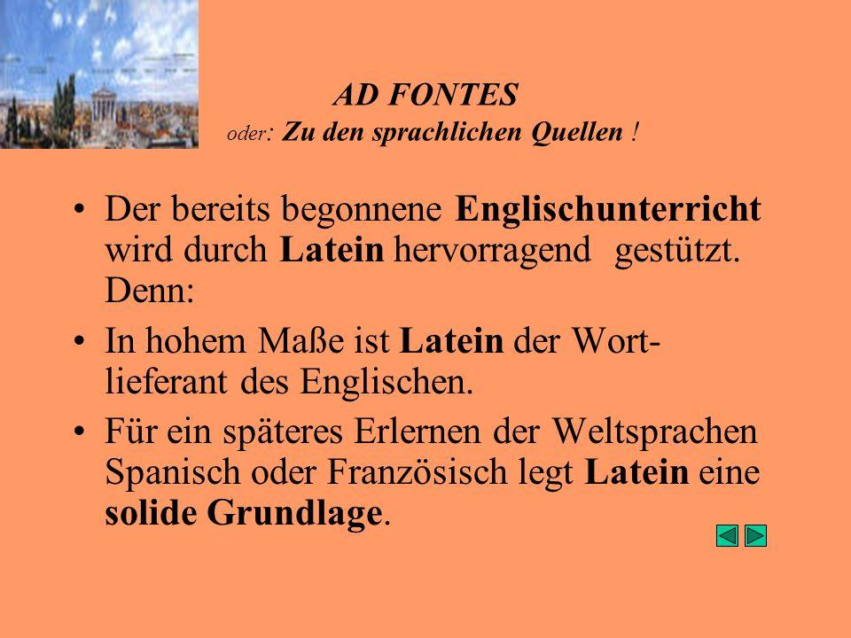 AD FONTES oder: Zu den sprachlichen Quellen !