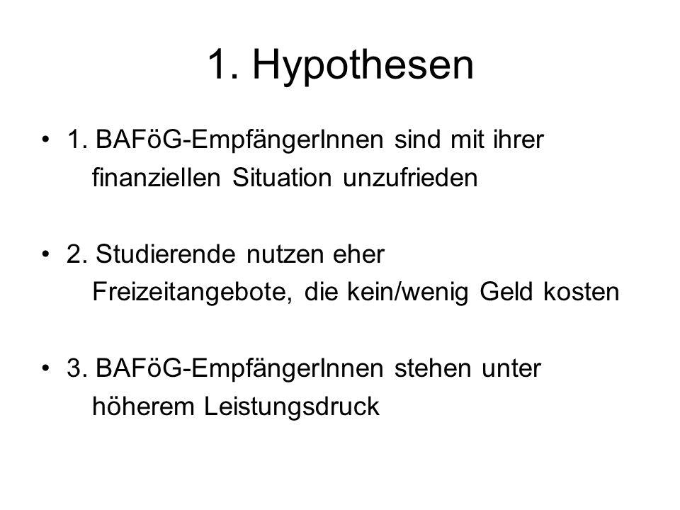 1. Hypothesen 1. BAFöG-EmpfängerInnen sind mit ihrer