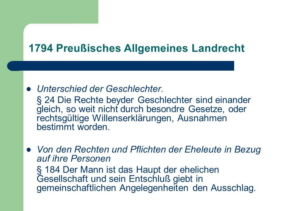 1794 Preußisches Allgemeines Landrecht