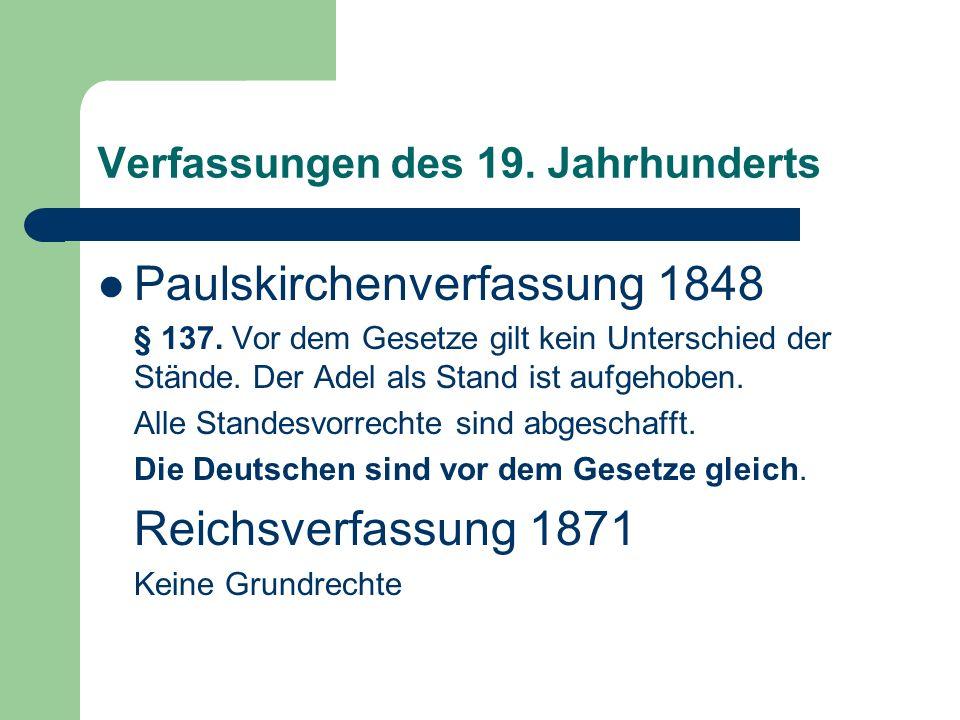 Verfassungen des 19. Jahrhunderts
