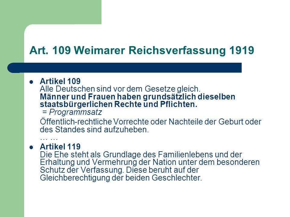 Art. 109 Weimarer Reichsverfassung 1919