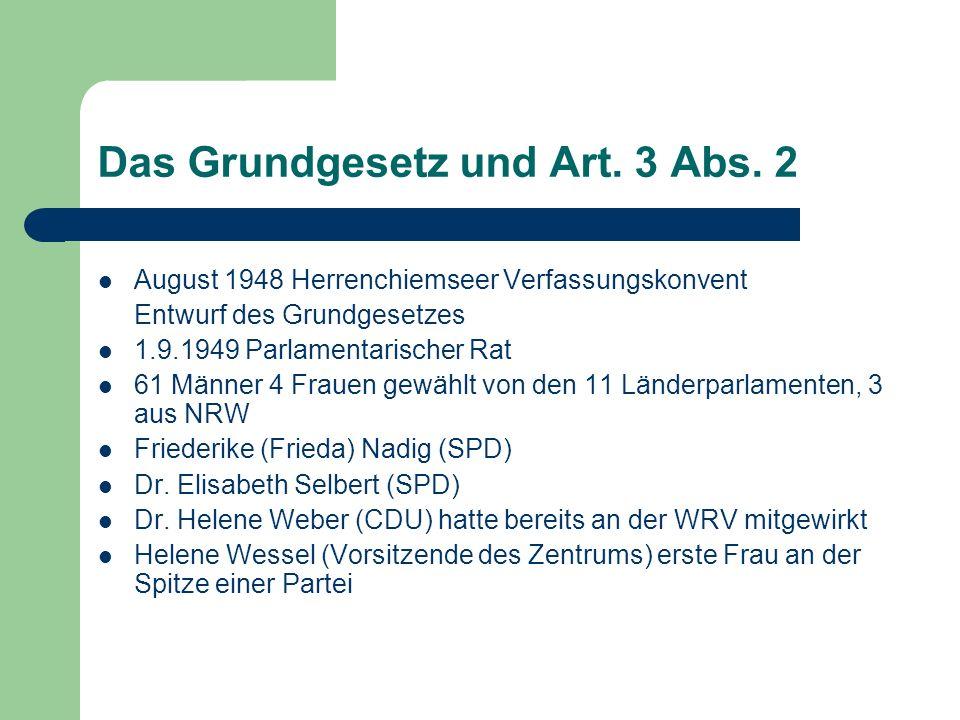 Das Grundgesetz und Art. 3 Abs. 2