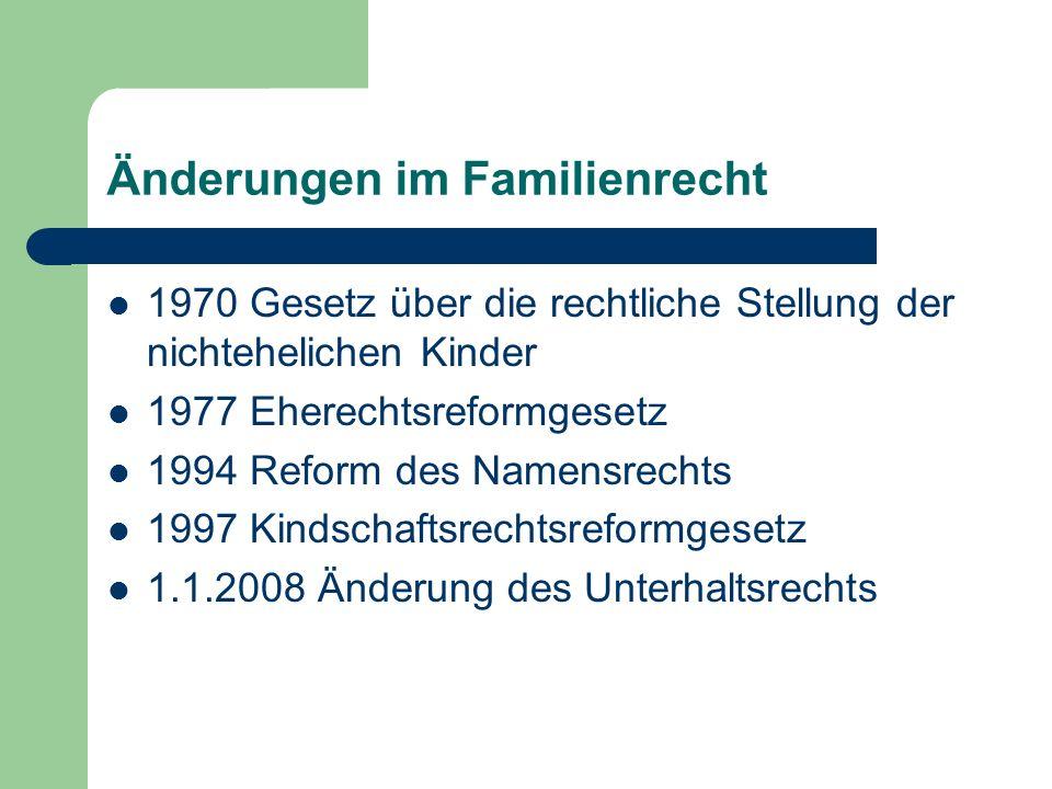 Änderungen im Familienrecht