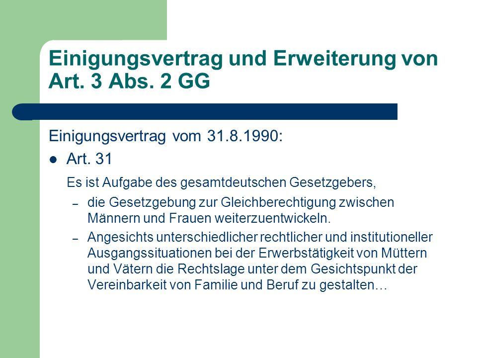 Einigungsvertrag und Erweiterung von Art. 3 Abs. 2 GG