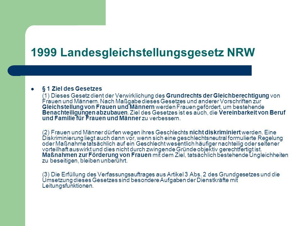 1999 Landesgleichstellungsgesetz NRW