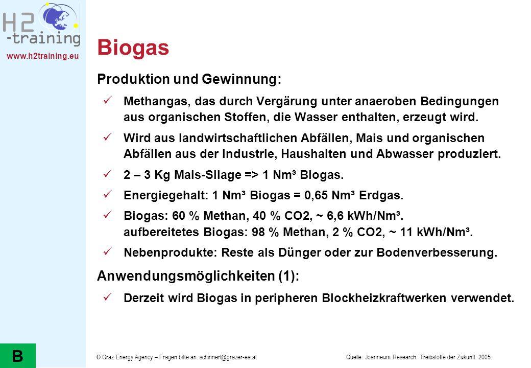 Biogas B Produktion und Gewinnung: Anwendungsmöglichkeiten (1):
