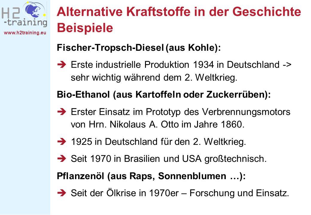 Alternative Kraftstoffe in der Geschichte Beispiele
