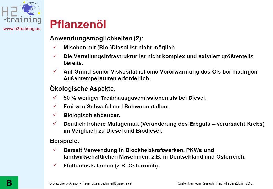 Pflanzenöl B Anwendungsmöglichkeiten (2): Ökologische Aspekte.