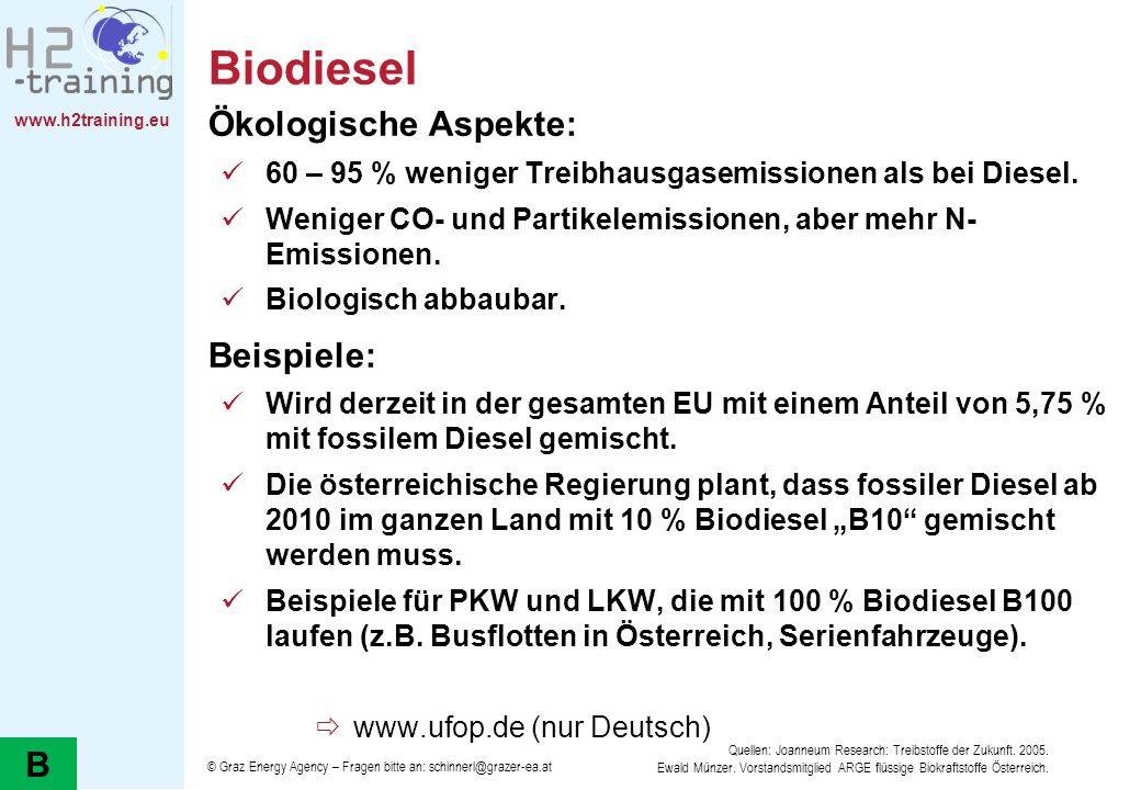 Biodiesel Ökologische Aspekte: Beispiele: B