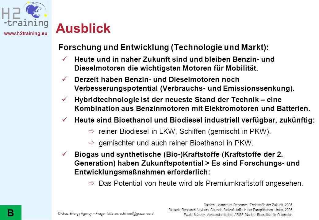 Ausblick B Forschung und Entwicklung (Technologie und Markt):
