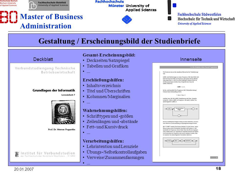 Gestaltung / Erscheinungsbild der Studienbriefe