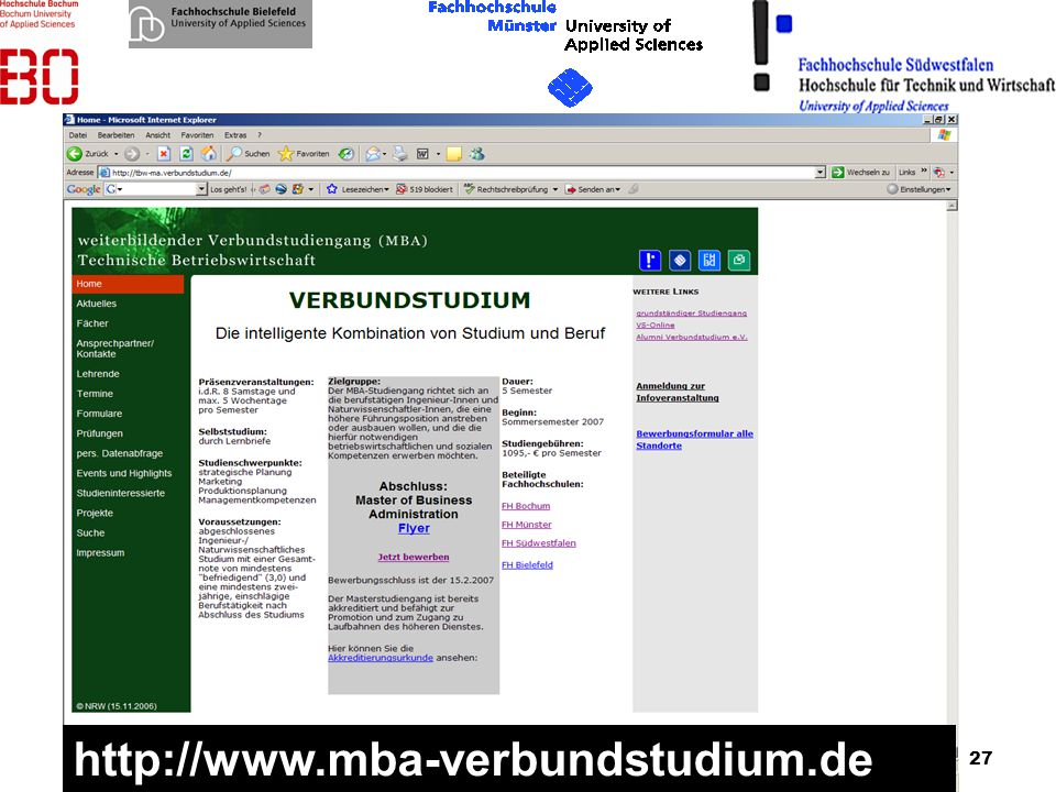 20.01.2007 http://www.mba-verbundstudium.de