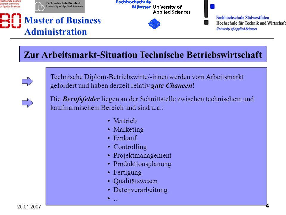 Zur Arbeitsmarkt-Situation Technische Betriebswirtschaft