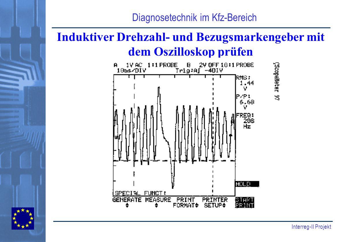 Induktiver Drehzahl- und Bezugsmarkengeber mit dem Oszilloskop prüfen