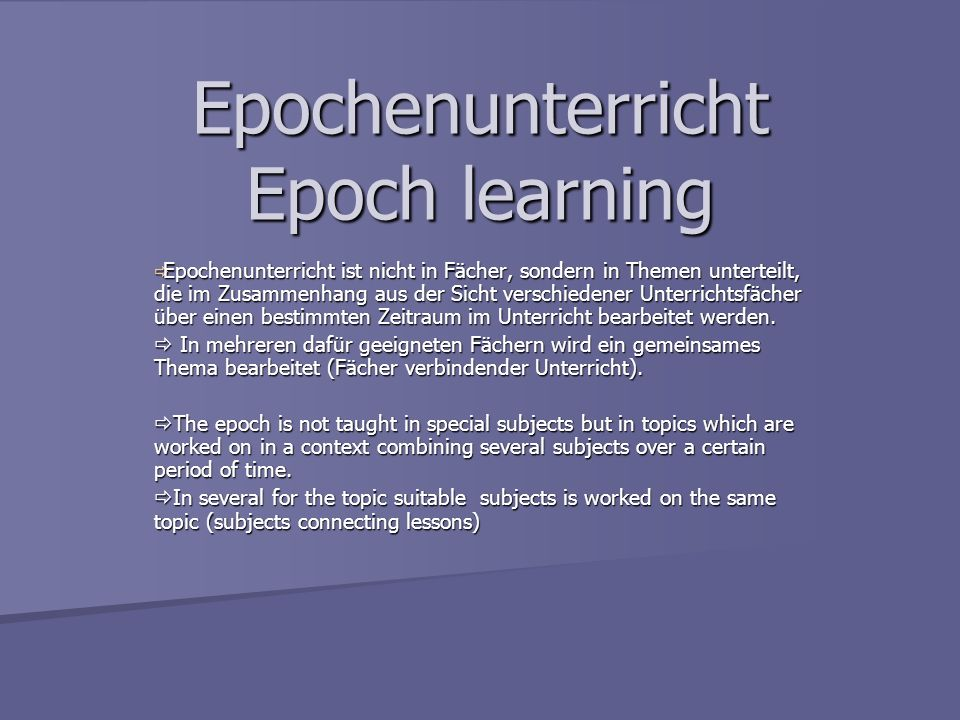 Epochenunterricht Epoch learning