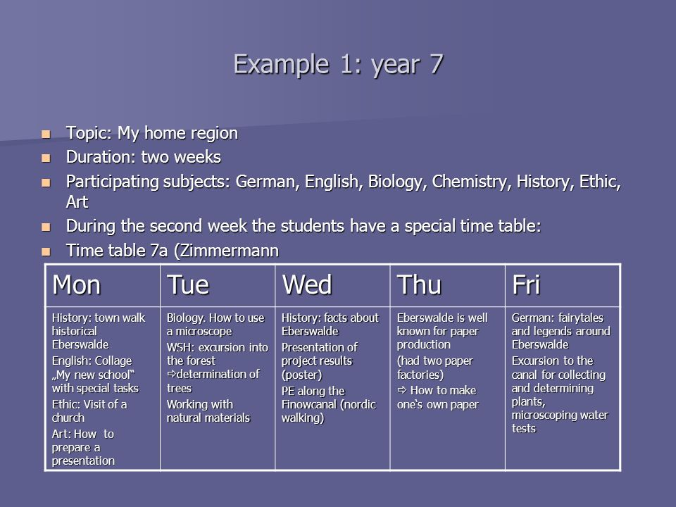 Example 1: year 7 Mon Tue Wed Thu Fri Topic: My home region