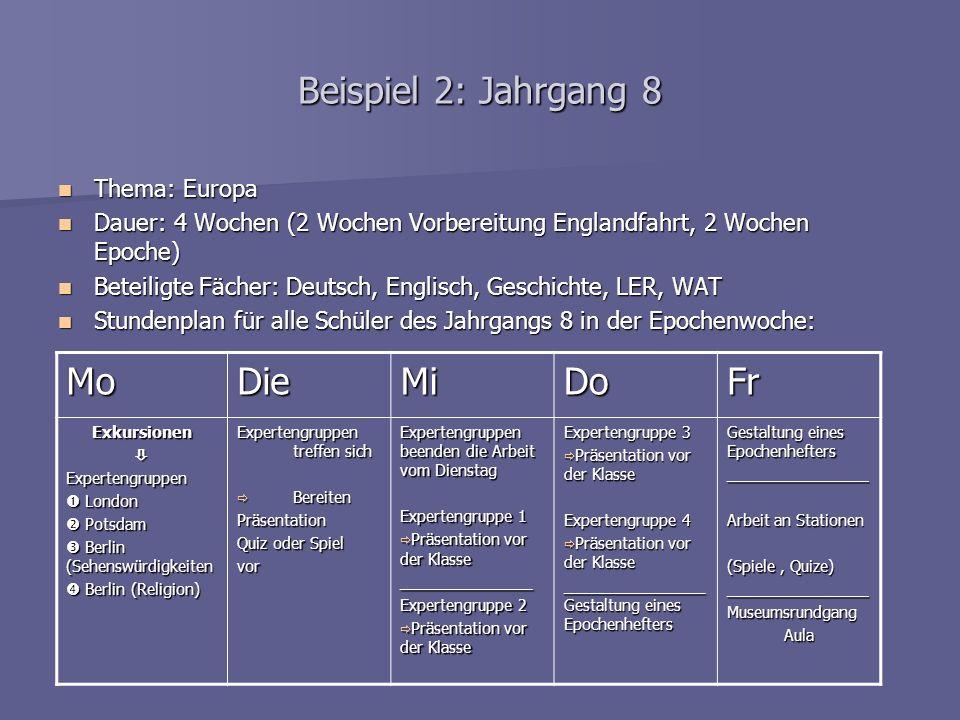 Beispiel 2: Jahrgang 8 Mo Die Mi Do Fr Thema: Europa