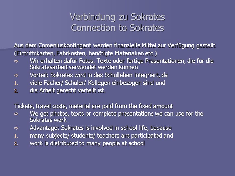 Verbindung zu Sokrates Connection to Sokrates