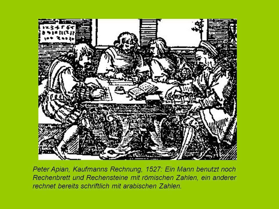Peter Apian, Kaufmanns Rechnung, 1527: Ein Mann benutzt noch Rechenbrett und Rechensteine mit römischen Zahlen, ein anderer rechnet bereits schriftlich mit arabischen Zahlen.