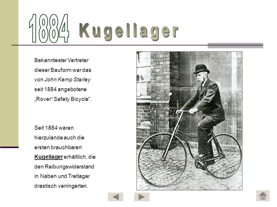 1884 Kugellager Bekanntester Vertreter dieser Bauform war das