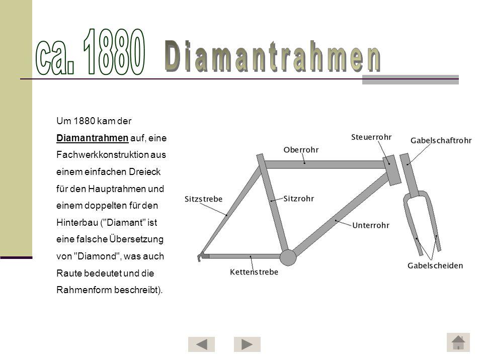 ca. 1880 Diamantrahmen Um 1880 kam der Diamantrahmen auf, eine