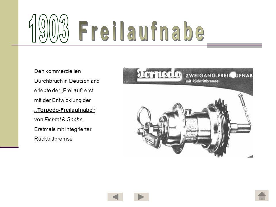 1903 Freilaufnabe Den kommerziellen Durchbruch in Deutschland