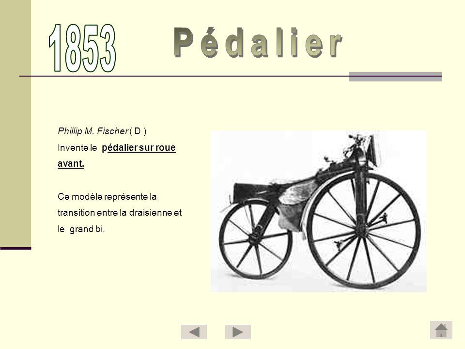1853 Pédalier Phillip M. Fischer ( D ) Invente le pédalier sur roue