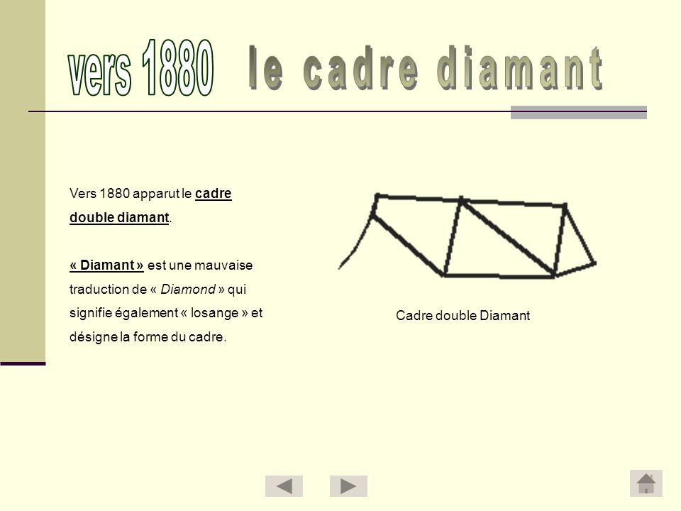 vers 1880 le cadre diamant Vers 1880 apparut le cadre double diamant.