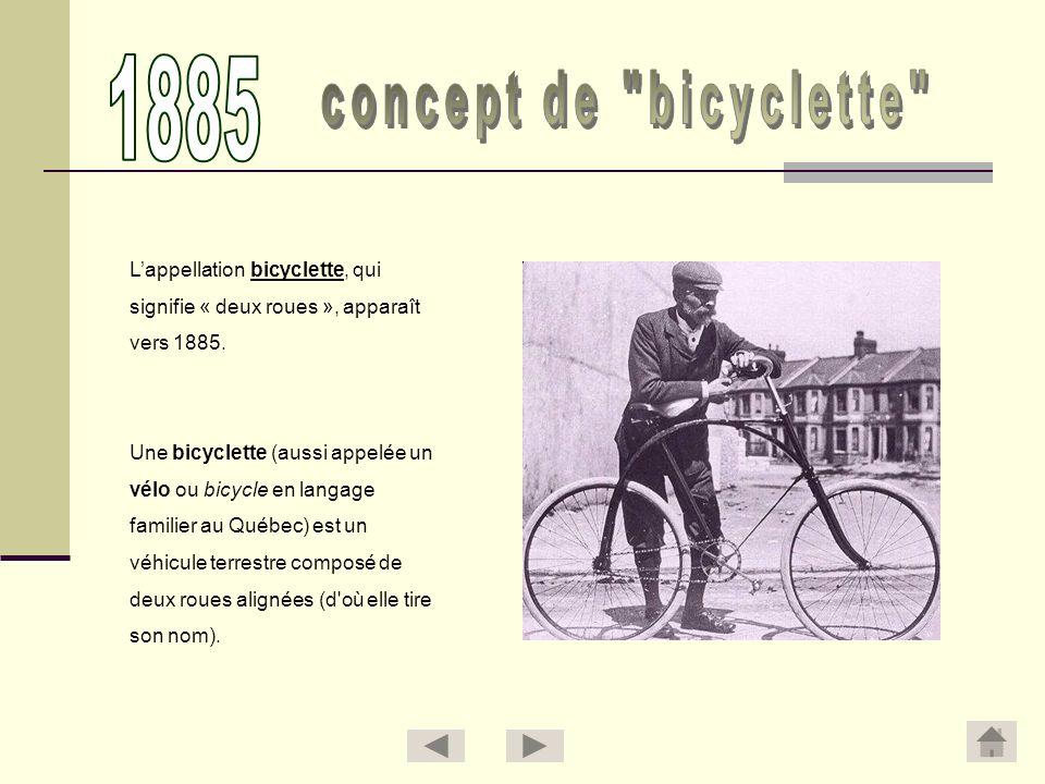 1885 concept de bicyclette L'appellation bicyclette, qui