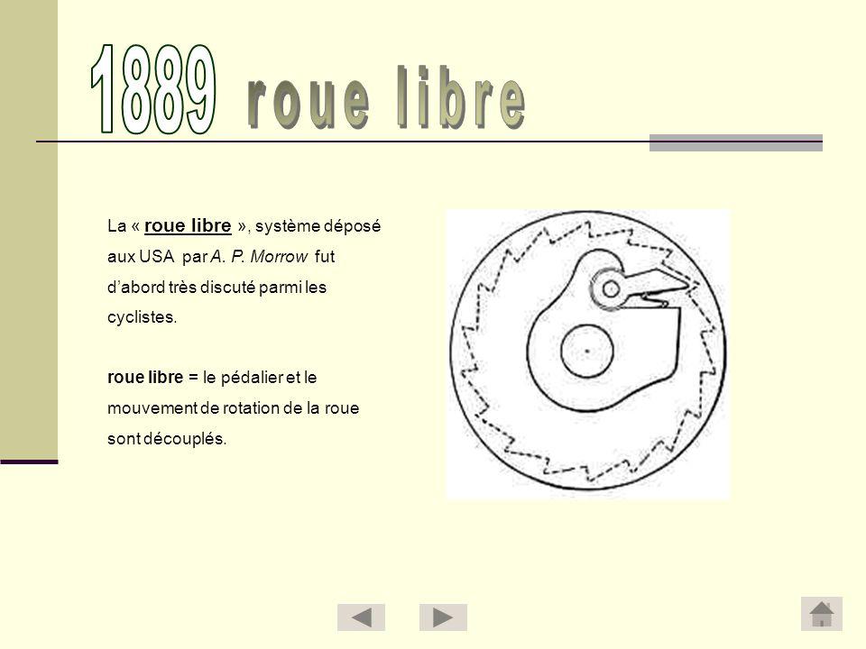 1889 roue libre La « roue libre », système déposé