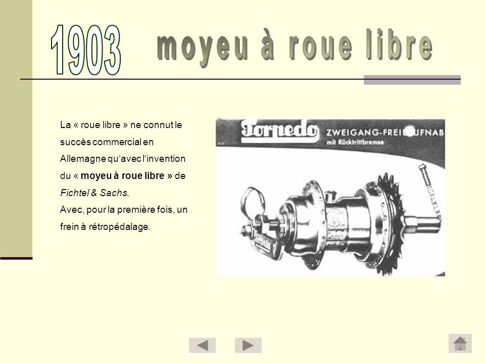 1903 moyeu à roue libre La « roue libre » ne connut le
